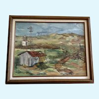 Kaiser, Old Homestead Ranch With Horse Figural Oil Painting 1951