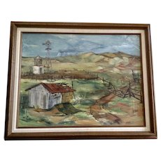 Kaiser, Old Homestead Ranch With Horse Figural Oil Painting Signed By Artist 1951