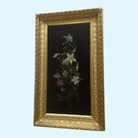 Mrs. A. W Bailey, Columbine Wildflower Floral Still Life Oil Painting on Wood Plank 19th Century Signed by Artist