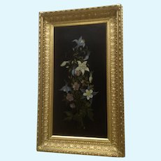 Mrs. A. W Bailey, Columbine Wildflower Floral Still Life Oil Painting 19th Century