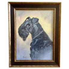 Saqueton, Beautiful Black Riesenschnauzer or Giant Schnauzer Dog Oil Painting on Canvas Signed by Artist