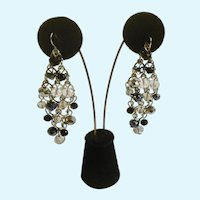 """Cascading Crystal Clear and Black Beaded Fishhook Earrings Costume Jewelry 2-3/4"""""""