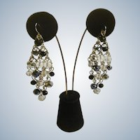Cascading Crystal Clear and Black Beaded Fishhook Earrings Costume Jewelry 2-3/4""