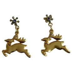 Vintage Gold-Tone Christmas Reindeer, Blue and Clear Diamond Crystal Rhinestones KC Jewelry Stud Post Earrings