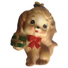 Lefton Christmas Puppy Dog With Present and Holly Berries Ceramic Figurine