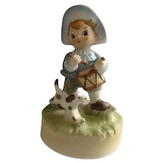 Vintage Drummer Boy and Dog Music Box plays Patriotic 'God Bless America' Made By Sankyo Japan Ceramic Figurine