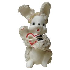 White Porcelain Spaghetti Trim Bunny Rabbit Valentine With Heart and Arrow Figurine