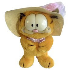 1981 Garfield The Cat Easter Bonnet 13-7360 Jim Davis Plush Stuffed Animal Cat By Dankin with Original Tag