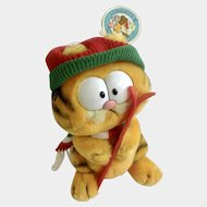 1981 Garfield The Cat Skier Holding Ski's Winter Edition Jim Davis Plush Stuffed Animal Cat By Dankin with Original Tag