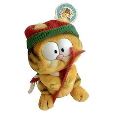 1981 Garfield The Cat Skier Holding Ski's Winter Edition Jim Davis Plush Stuffed Animal Cat By Dankin with Original Tag