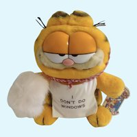 1981 Garfield The Cat Mother's Day, Maid I Don't Do Windows Plush Stuffed Animal