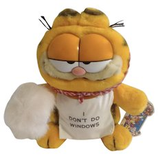1981 Garfield The Cat Mother's Day, Maid I Don't Do Windows #12-1030 Jim Davis Plush Stuffed Animal Cat By Dankin with Original Tag