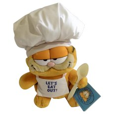 1981 Garfield What's Cookin, Chef's Hat Lets Eat Out #03-8820 Jim Davis Plush Stuffed Animal Cat By Dankin with Original Tag