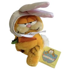 1981 Garfield The Cat Easter Bunny Fishing, Here Rabbit #84-1000 Jim Davis Plush Stuffed Animal By Dankin with Original Tag