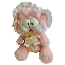 1981 Garfield The Cat Pink Baby Girl Bonnet Jim Davis Plush Stuffed Animal By Dankin With Pacifier