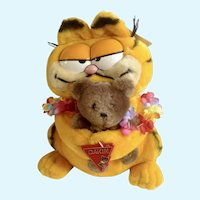 Vintage Garfield The Cat Hawaii Holding Pooky Bear #31-0008  Plush Stuffed Animal