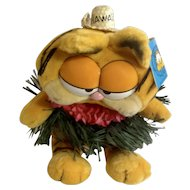 1981 Garfield The Cat Hawaii Hula Skirt #32-0990 Jim Davis Plush Stuffed Animal By Dankin with Original Tag
