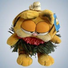 1981 Garfield The Cat Hawaii Hula Skirt #32-0990 Jim Davis Plush Stuffed Animal By Dankin with Original Tag
