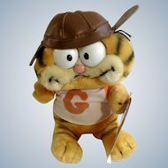 Garfield The Cat Football Player With Leather Helmet #32-1960 Jim Davis Plush Stuffed Animal By Dankin with Original Tag 1981