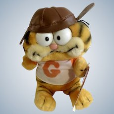 Garfield The Cat Football Player With Leather Helmet #32-1960 Jim Davis Plush Stuffed Animal By Dankin with Original Tag 1981