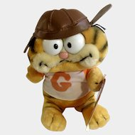 1981 Garfield The Cat Football Player With Leather Helmet #32-1960 Jim Davis Plush Stuffed Animal By Dankin with Original Tag