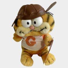1981 Garfield The Cat Football Player With Leather Helmet #32-1960 Jim Davis Plush Stuffed Animal By Dankin with Original Tag