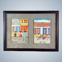 Eddy Myrthil (b1946), Folk Art Haitian Street Scenes, Acrylic Paintings on Board, Signed by Listed Haitian Artist