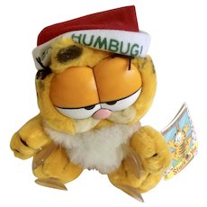 1981 Garfield The Christmas Stuck On You, Bah Humbug #15-4180 Jim Davis Plush Stuffed Animal By Dankin with Original Tag