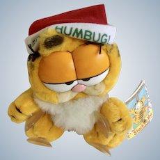 1981 Garfield The Christmas Stuck On You, Bah Humbug #15-4180 Jim Davis Plush Stuffed Animal By Dankin with Original Tag