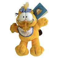 1981 Garfield The Cat Baby Greetings, It's A Boy #03464 Jim Davis Plush Stuffed Animal By Dankin with Original Tag and Pacifier