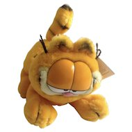 1978 Garfield The Playful Cat, Rare Crouching Tiger About To Pounce Jim Davis Plush Stuffed Animal By Paws Fine Toy Co. with Original Tag