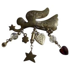 """Christmas  Angel with Dangling Beads Brooch Pin 2-1/2"""""""