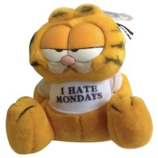 1981 Garfield The Cat I Hate Mondays #03-7420 Jim Davis Plush Stuffed Animal By Dankin with Original Tag