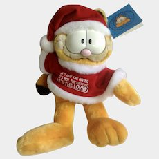 1981 Garfield The Cat Santa Its The Loving Meaningful Christmas #15440 Jim Davis Plush Stuffed Animal By Dankin with Original Tag