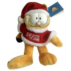 1981 Garfield The Cat Santa Its The Loving Meaningful Christmas #15440 Jim Davis Plush Stuffed Animal By Dankin with Original Tag