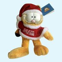 Vintage Garfield The Cat Santa Loving Meaningful Christmas Jim Davis Plush Stuffed Animal