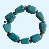 "Nice Turquoise Colored & Silver-tone Beads Stretch Bracelet Costume Jewelry 7-7-1/2"" Wrist"