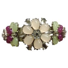 Gorgeous Flower Sparkle Colored Pink, Purple and Green, Silver-tone Bracelet Costume Jewelry Rigid 2-1/2 '' Diameter