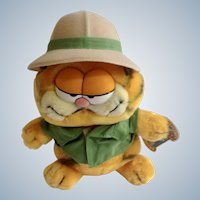 1981 Garfield The Cat On Safari #03-7280 Jim Davis Plush Stuffed Animal By Dankin with Original Tag