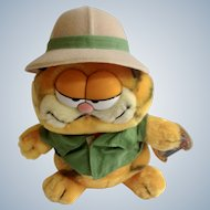 1981 Garfield The Cat On Safari #03-7280 Jim Davis Plush Stuffed Animal By Dankin with Original Tag