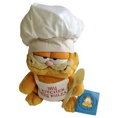 1981 Garfield The Cat Chef Hat, My Kitchen My Rules, What's Cookin'? #03-8820 Jim Davis Plush Stuffed Animal By Dankin with Original Tag