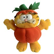 1981 Garfield The Cat Holoween Cat In The Pumpkin Patch #16-0090 Jim Davis Plush Stuffed Animal By Dankin