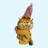 1981 Garfield The Cat Christmas Holding Candy Cane Sleepy Time, Plush Stuffed Animal Dankin