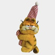 1981 Garfield The Cat Christmas Holding Candy Cane Sleepy Time, Jim Davis Plush Stuffed Animal By Dankin