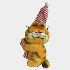 1981 Garfield The Cat Christmas Holding Candy Cane Sleepy Time, Jim Davis Plush Stuffed Animal By Dankin