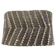 Stunning Black Rhinestone Diamond Silver-tone Bracelet