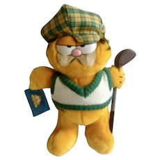 1981 Garfield The Cat Golfer With Golf Club #03-9210 Jim Davis Plush Stuffed Animal By Dankin with Original Tag