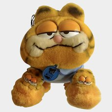 1981 Garfield The Cat Bed Time Pajama My Favorite Slippers #31-0916 Jim Davis Plush Stuffed Animal By Dankin with Original Tag