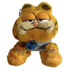 1981 Garfield The Cat Bed Time Pajama My Favorite Slippers #31-0916 Jim Davis Plush Stuffed Animal By Dankin with Original Tag