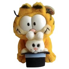 1981 Garfield The Cat Magic Bunny Out Of Black Hat #03-7380 Jim Davis Plush Stuffed Animal By Dankin with Original Tag